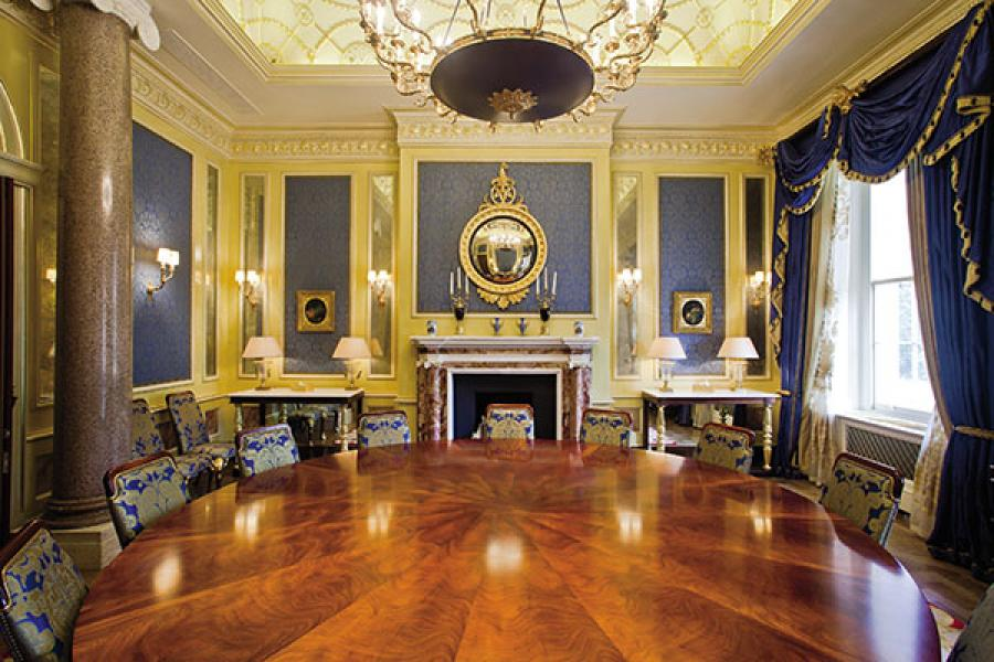 Heritage house: The family's informal dining room; the four Hinduja brothers