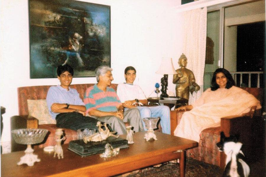 Yasmeen Premji with husband Azim and sons Rishad and Tariq. Her family describes her as a grounded person