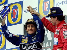 Senna raises Prost's hand after Prost had raced his last Grand Prix