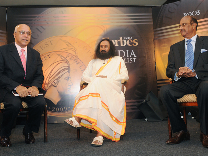 The Panel discussion: MindTree founder Subroto Bagchi, Sri Sri Ravishankar, GVK Group chairman Dr GV Krishna Reddy